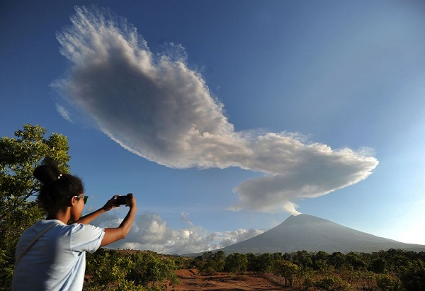 Indonesia's Bali volcano erupts