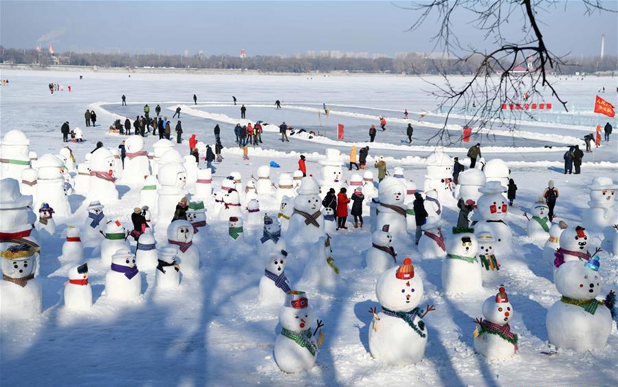 2,019 cute snowmen displayed to greet year 2019 in Harbin