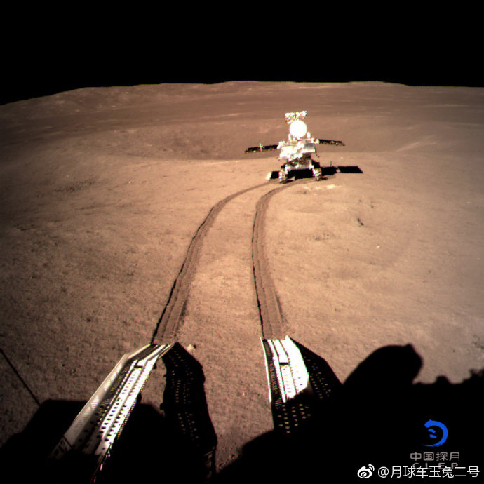 Chinese lunar rover Yutu-2 moves forward on the dark side of moon