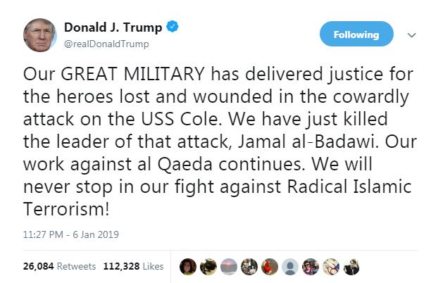 Screenshot of Donald Trump's Twitter account [Screenshot: China Plus]