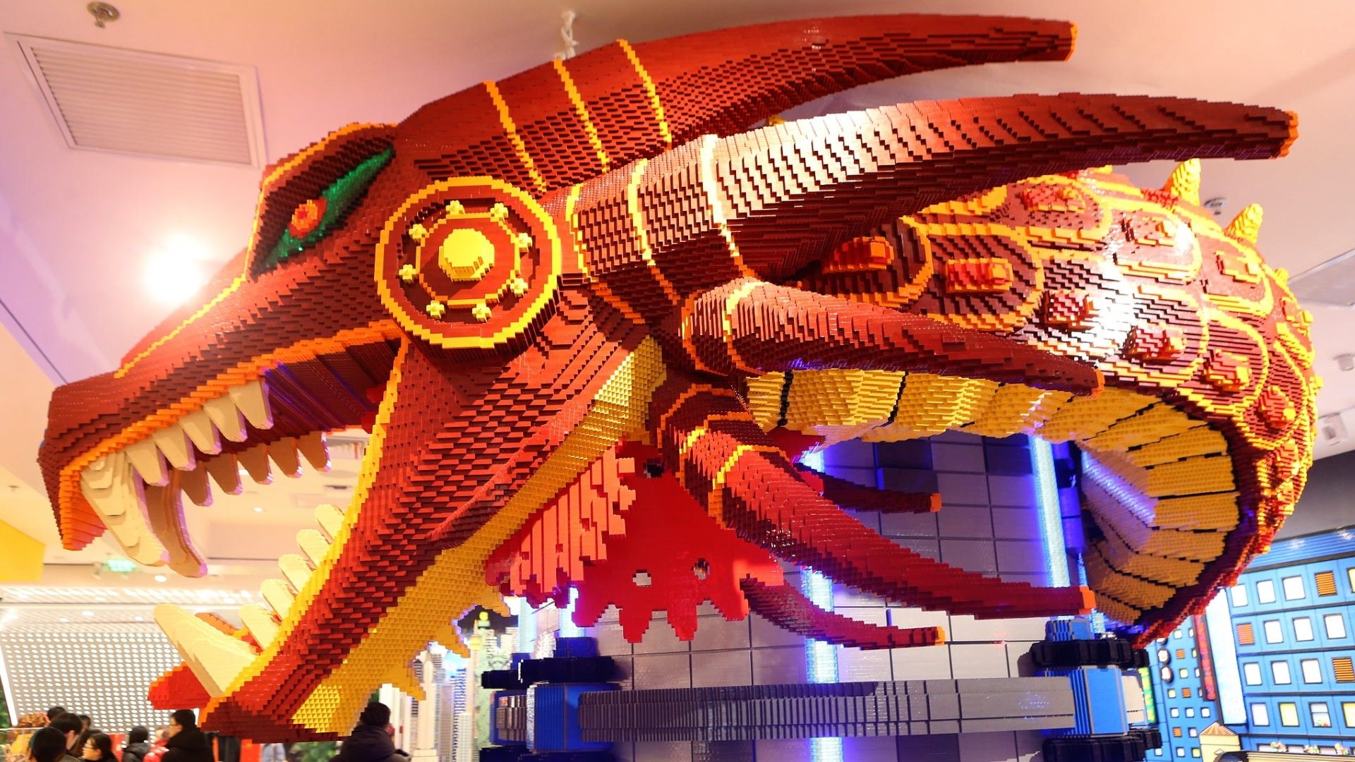 Meet the 'red dragon' in Shanghai Lego flagship store