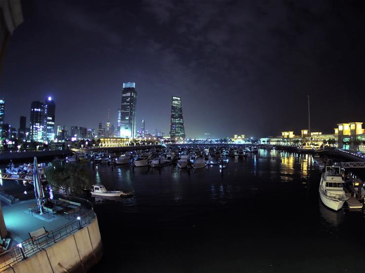 Night view of Kuwait City, capital of Kuwait