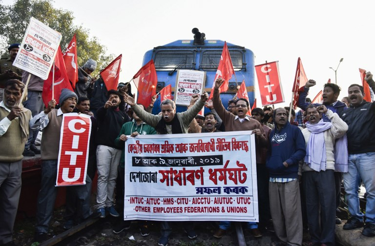 2-day nationwide trade union strike in India begins with protests, sporadic violence