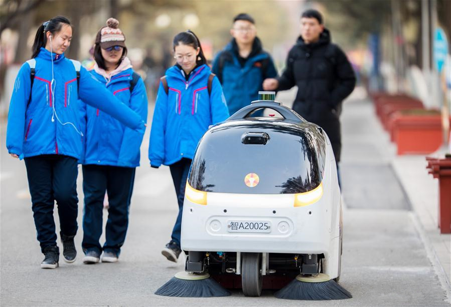 Self-driving sweeper car put into service in Hohhot, N China's Inner Mongolia