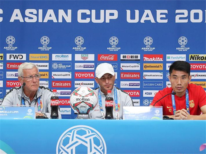 China's football team holds press conference prior to Asian Cup match against Philippines