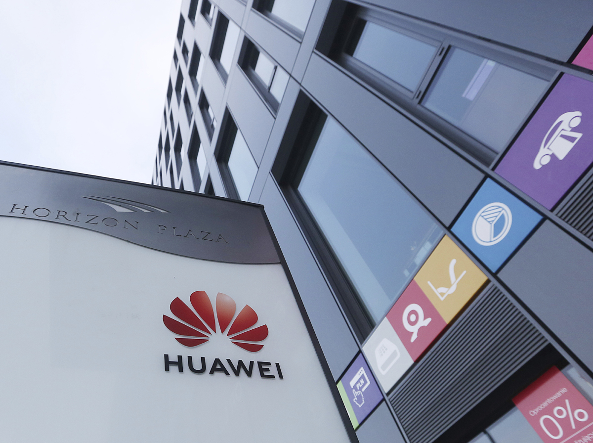 The Huawei logo displayed at the main office of Chinese tech giant Huawei in Warsaw, Poland, on Friday, Jan. 11, 2019. [Photo: IC]