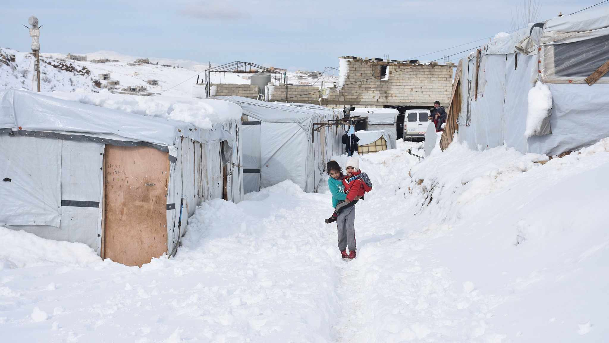 Lebanon winter storm batters Syrian refugee camps