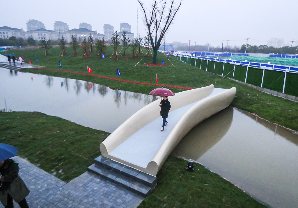 3D-printed bridge opens in Shanghai park