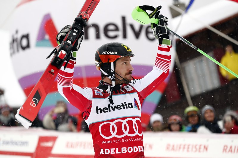 Hirscher wins slalom for WCup record 9th win at same venue