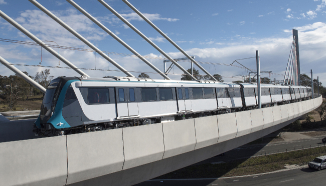 Australia's first driverless passenger train during a test on the Windsor Road Bridge in Sydney, New South Wales, Australia, July 18, 2018. [Photo: IC]