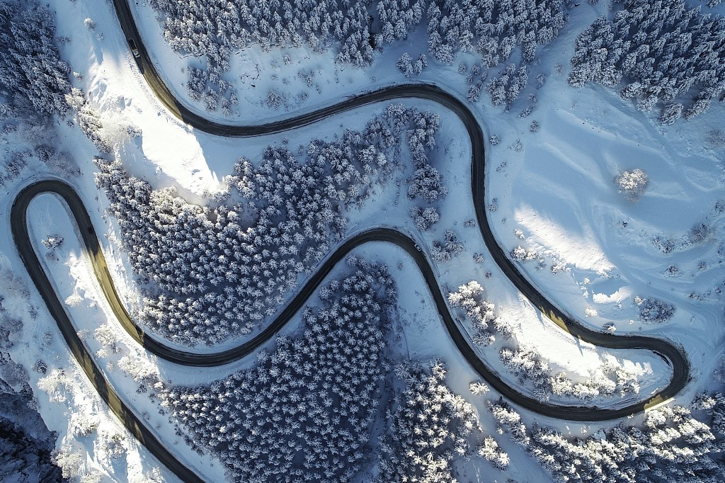 An aerial view of Turkey during snowfall