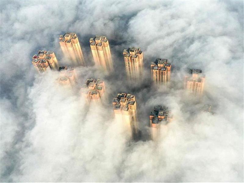 Fog scenery in Tongren, SW China's Guizhou