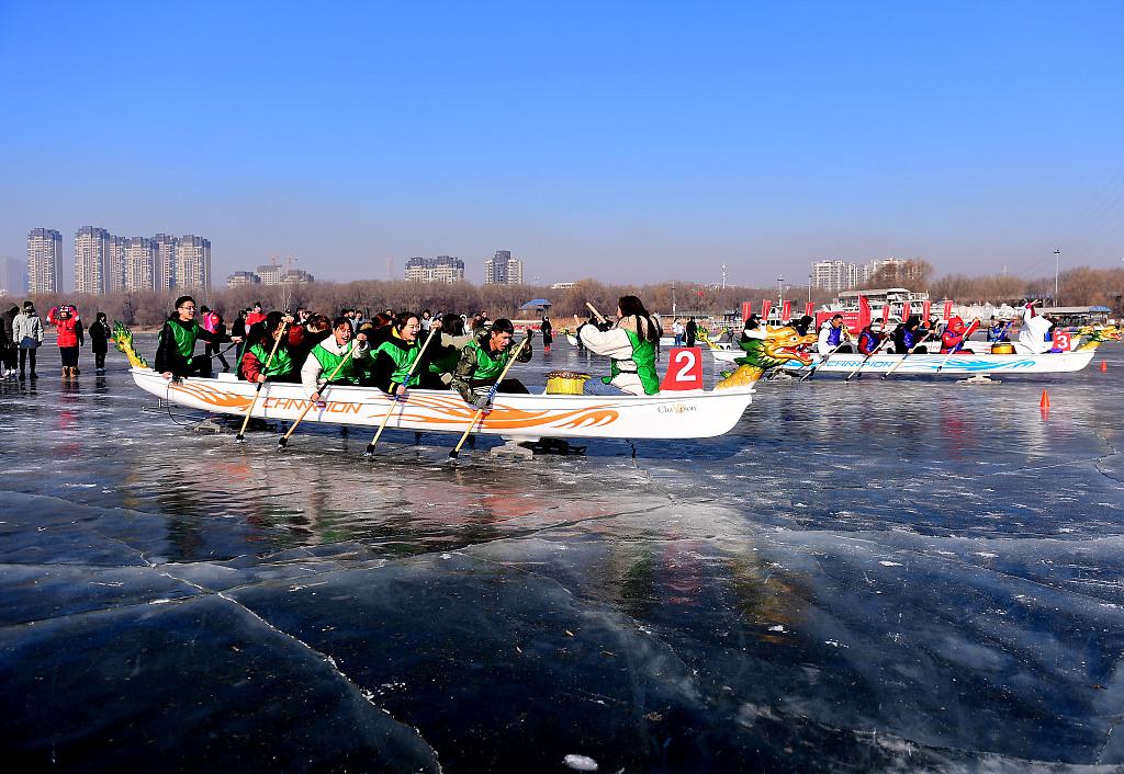 Ice dragon boat race in NE China
