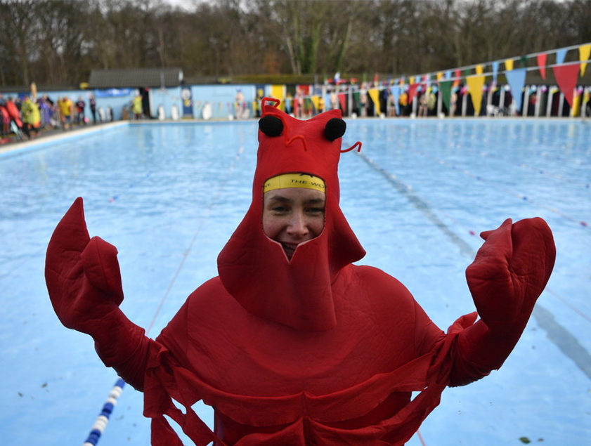 Participants compete in the UK Cold Water Swimming Championships in London