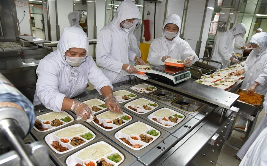 Packed meals on high speed trains prepared by specialist catering service companies