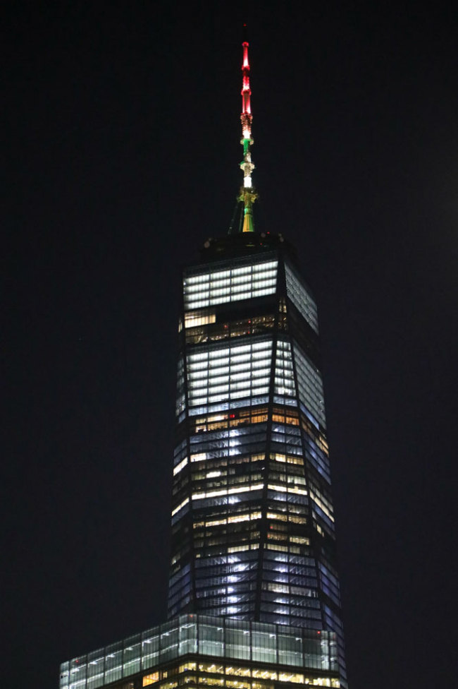 One World Trade Center in New York lit up for Lunar New Year