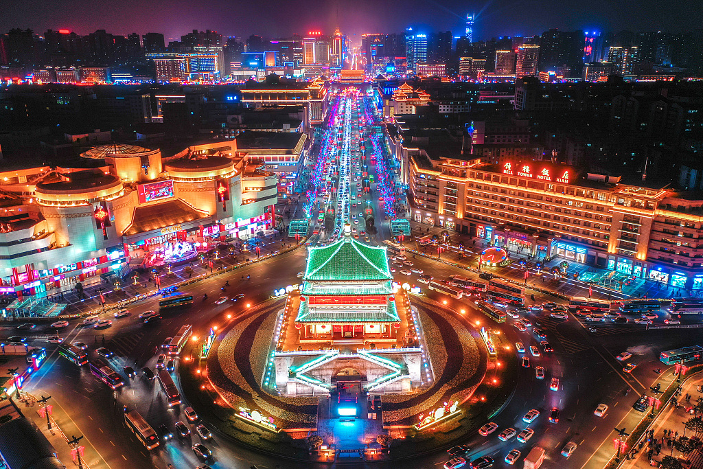 Colorful lights turn Xi'an into 'a city without darkness'