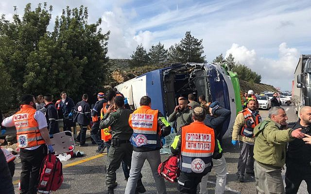 2 killed, 41 injured as bus overturns in West Bank