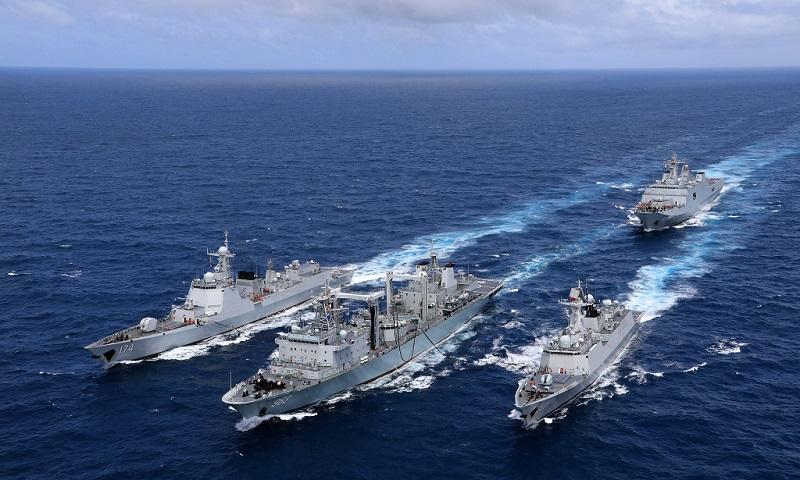 Vessels conduct replenishment-at-sea in Pacific Ocean
