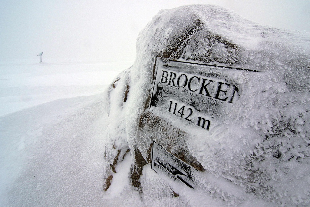 Snow and ice cover the Brocken Mountain in Germany