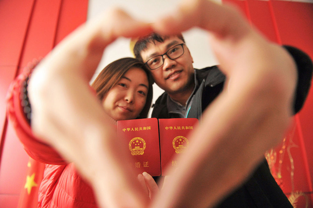 Marriage boom in China on Valentine's Day
