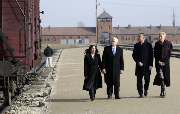 US Vice President Mike Pence makes his first Auschwitz visit