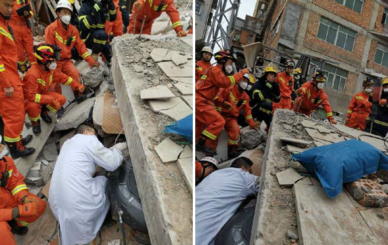 Rescue work underway at site of collapsed building in China's Fujian