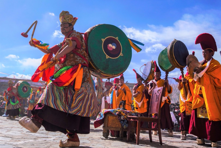Tibetan Buddhist monks perform during Cham dance ritual