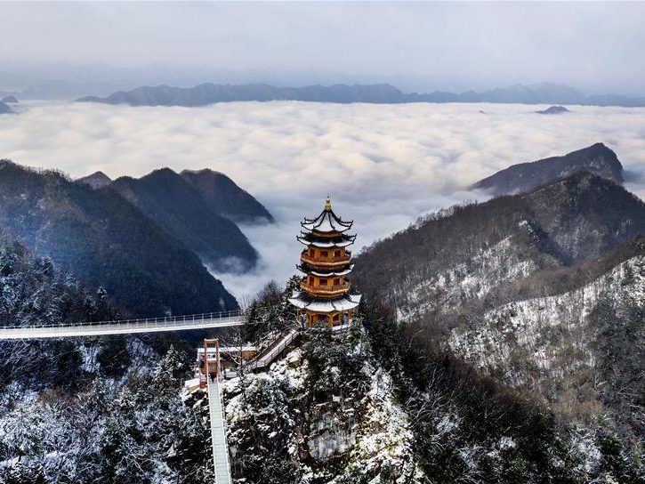 Scenery of Tayun Mountain after snowfall in NW China's Shaanxi