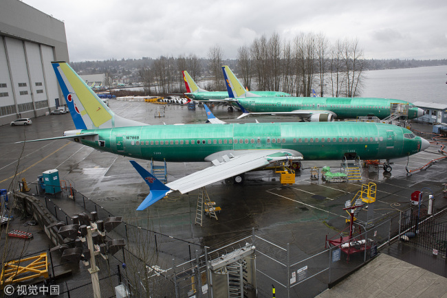 A 737 Max 8 plane destined for China Southern Airlines sits at the Boeing Co. manufacturing facility in Renton, Washington, U.S., on Tuesday, Mar. 12, 2019. The Boeing 737 Max crash in Ethiopia looks increasingly likely to hit the planemaker's order book as mounting safety concerns prompt airlines to reconsider purchases worth about $55 billion. [Photo via VCG/David Ryder]