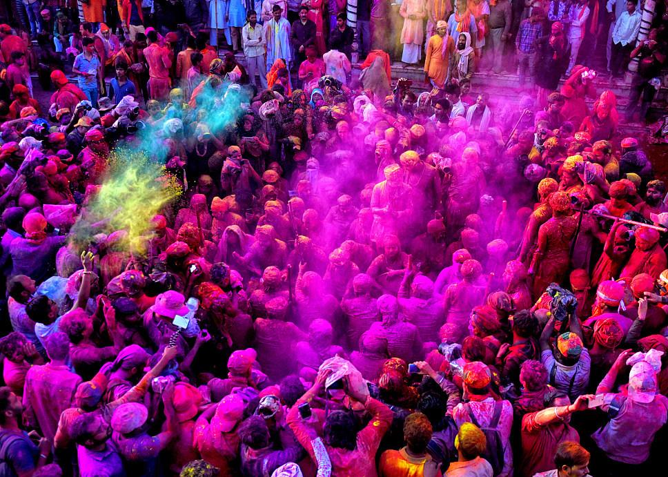 Hindu devotees celebrate upcoming spring season at Holi Festival