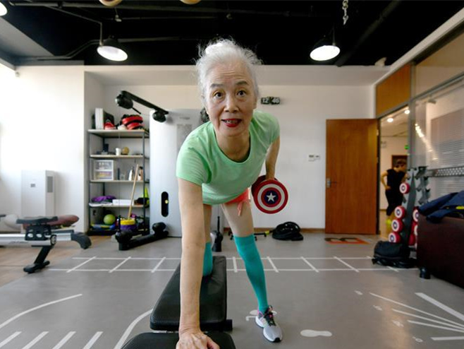 74-year-old granny spends one hour every day in bodybuilding