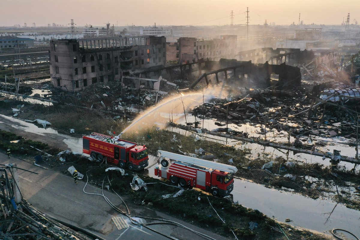 China treats polluted water after chemical plant blast