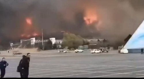 Fire extends to north China prairie from Russia