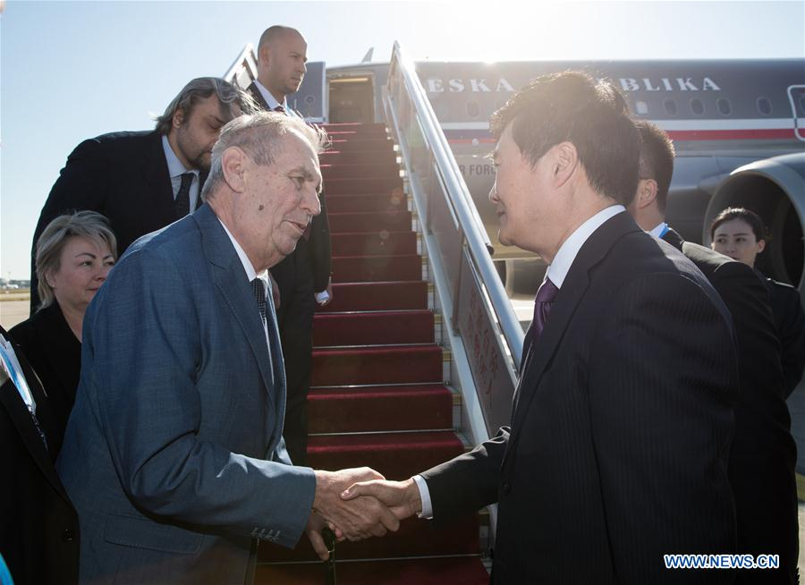 Czech president arrives in Beijing to attend 2nd Belt and Road Forum