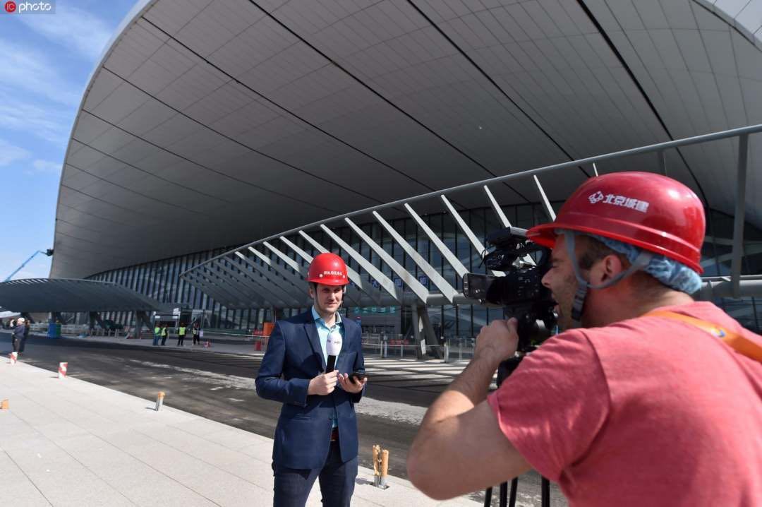Belt and Road foreign reporters visit Beijing's new airport