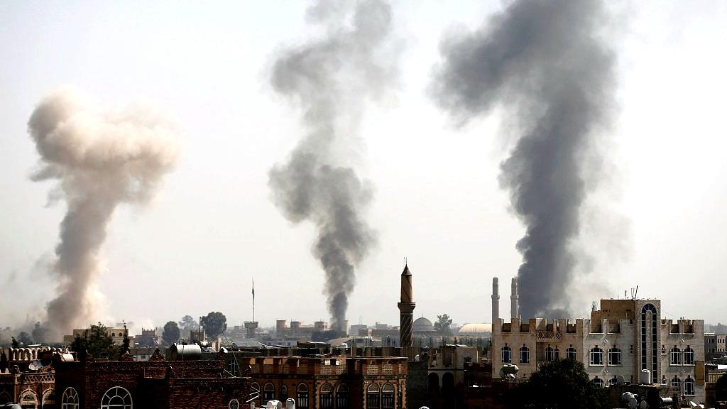 Saudi-led coalition attacks air base near Sanaa's airport in Yemen
