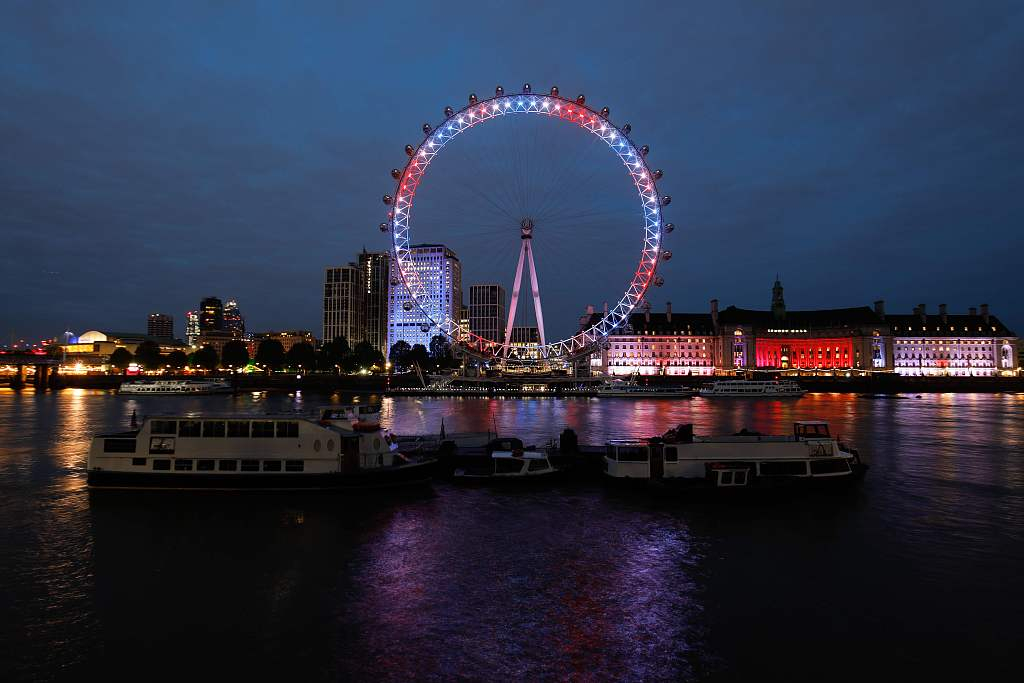 London Eye glows red, white and blue for Royal baby boy
