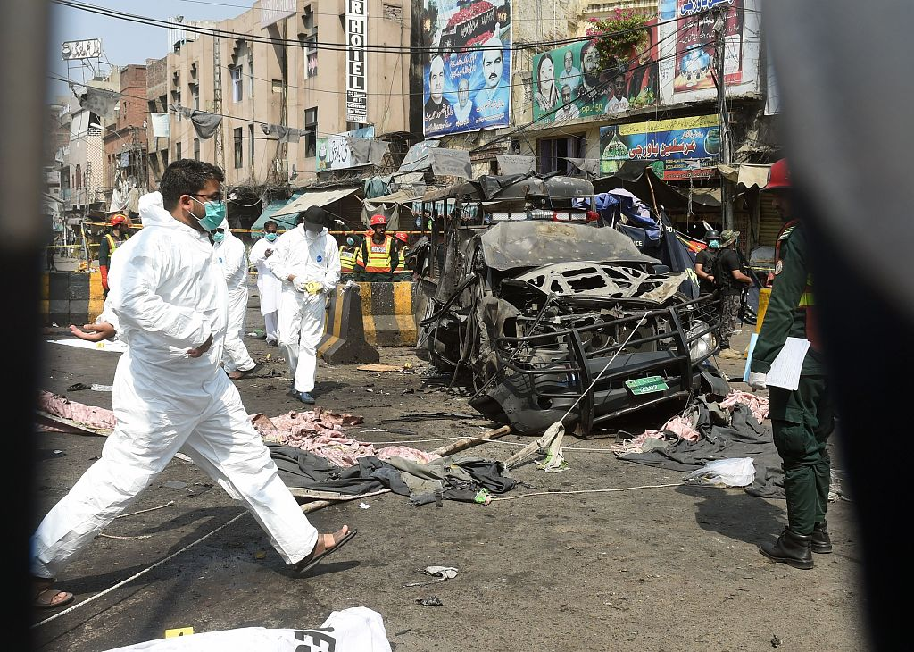 8 killed in suicide attack on police vehicle in Pakistan's Lahore