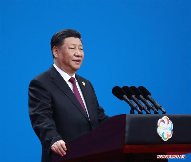 Chinese President Xi Jinping delivers a keynote speech at the opening ceremony of the Conference on Dialogue of Asian Civilizations (CDAC) at the China National Convention Center in Beijing, capital of China, May 15, 2019. [Photo: Xinhua/Ju Peng]