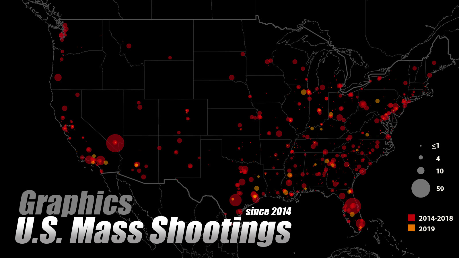 Graphics: US mass shootings in past five years, where and when?