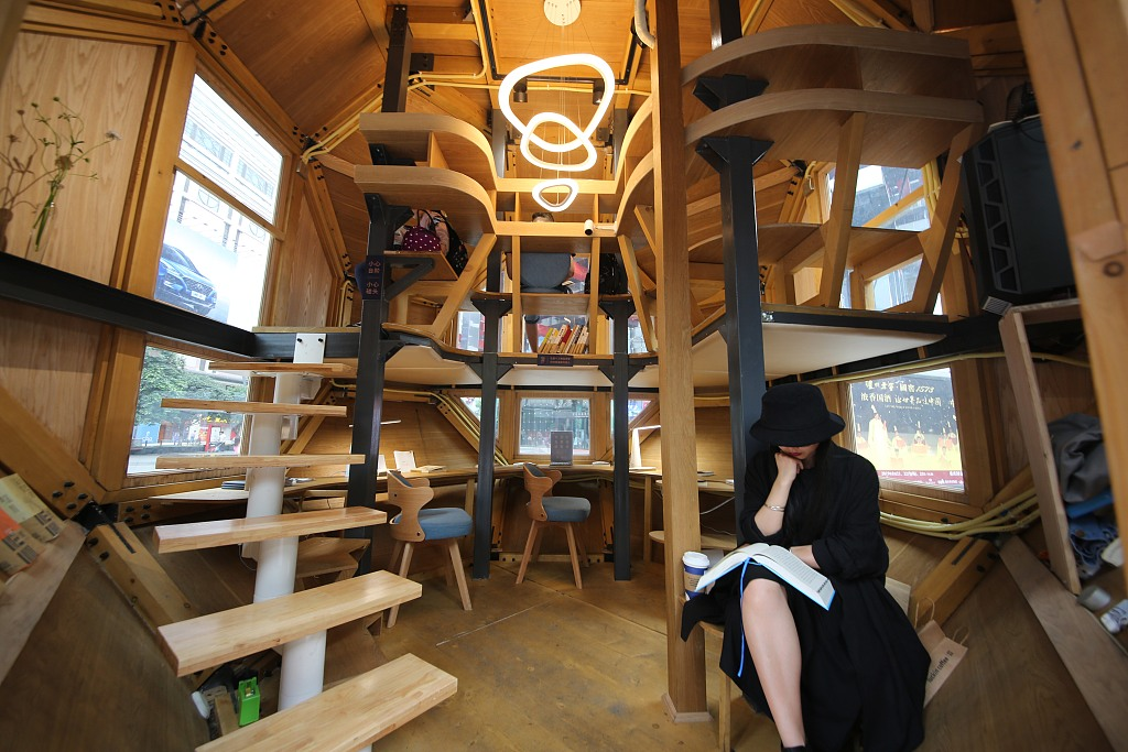 Space capsule-shaped reading room lands in Chongqing