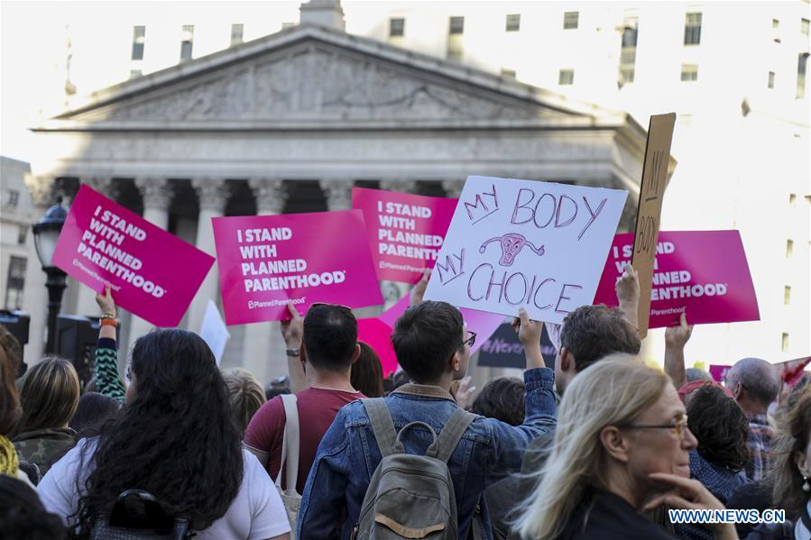 People attend rally calling for abortion rights in New York