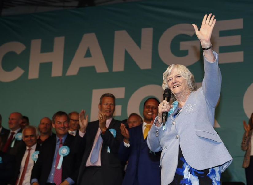People attend Brexit Party campaign event for upcoming European Parliament election