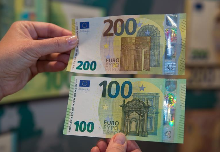 New 100- and 200-euro banknotes displayed in Vilnius, Lithuania