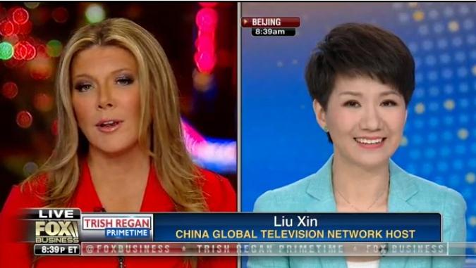 CGTN anchor Liu Xin, Fox host Trish Regan discussing China-US trade issues
