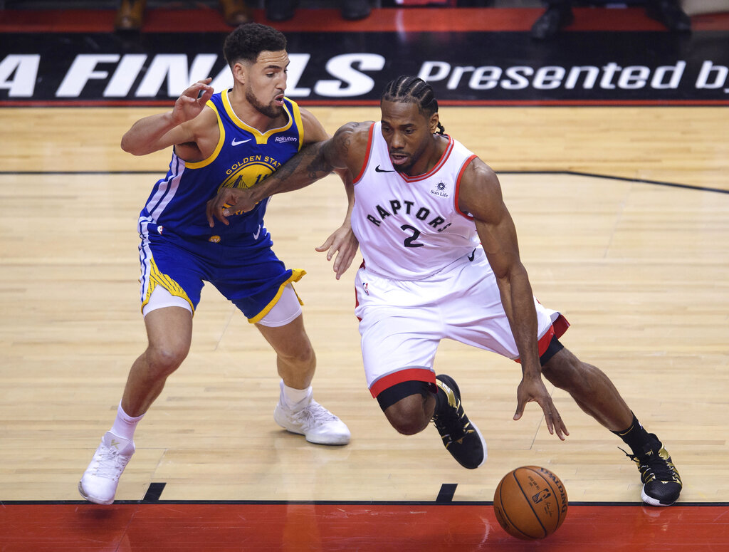 Raptors, Warriors close late in 2nd quarter