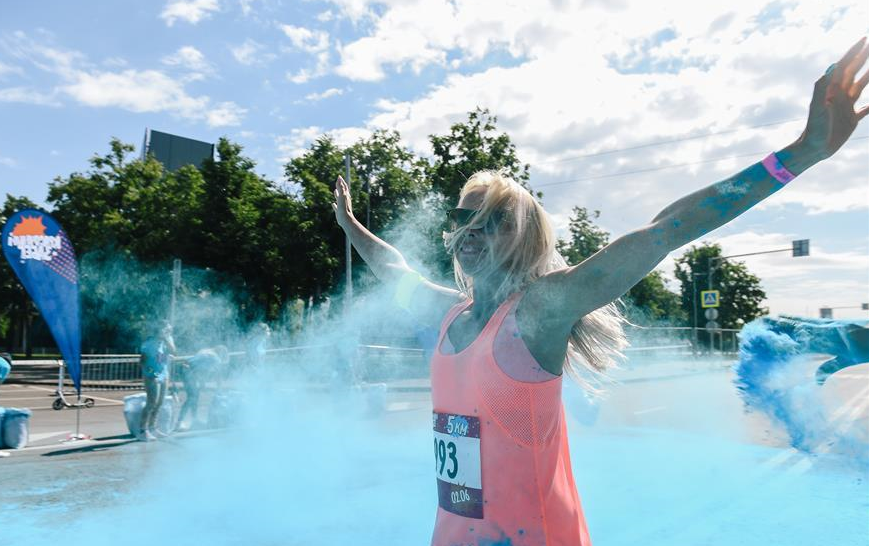 Annual color run in Moscow, Russia