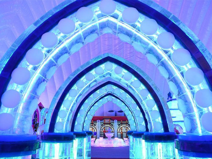 Indoor ice-snow theme park at Harbin Ice-Snow World in China's Heilongjiang