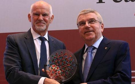 IOC President Bach receives Cem-Papandreou Peace Award